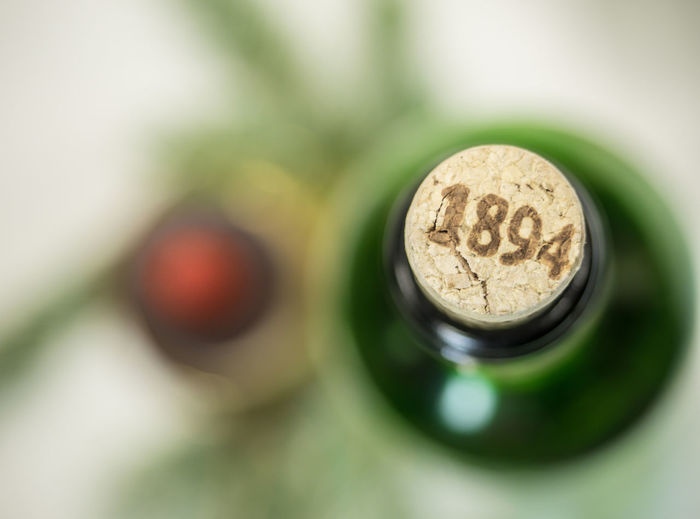 High angle view of number on wine cork