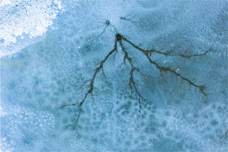 Aerial view of frozen lake. aerial photography during winter season.