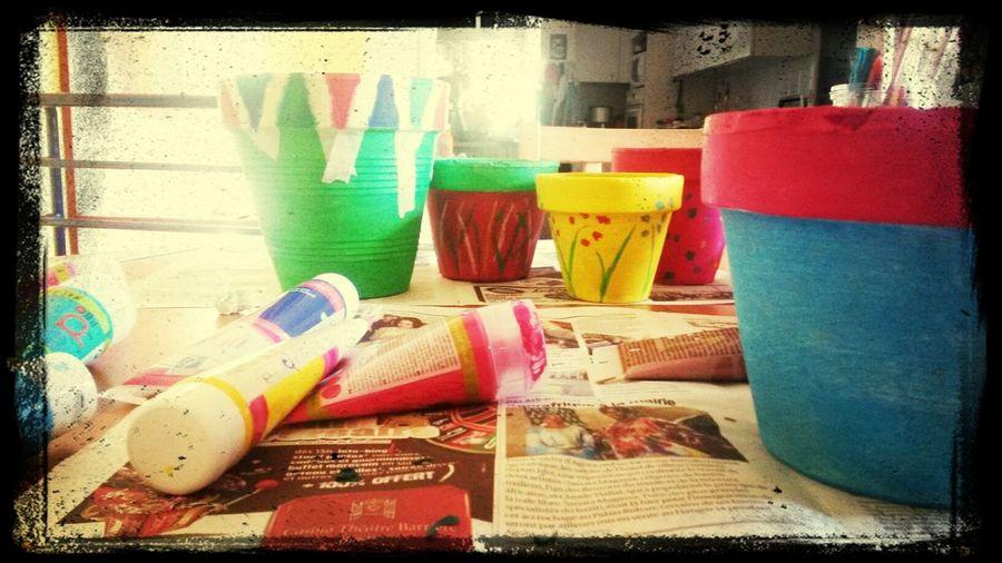 Aujourd'hui c'est déco sur pot pour une créa sur palette..... chuuuut c'est une surprise !!! Creation Deco Pot De Fleur Palette Saint Selve