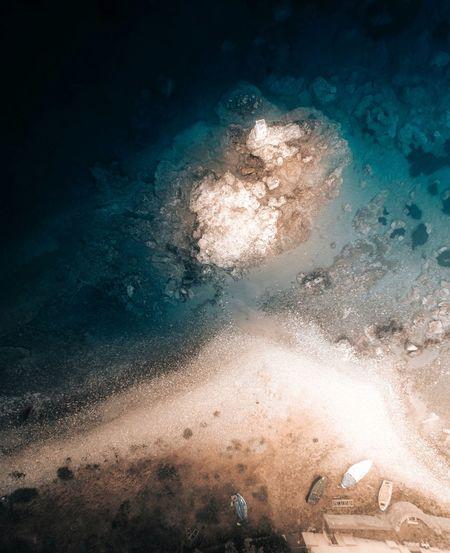 Sunlight falling on sea water