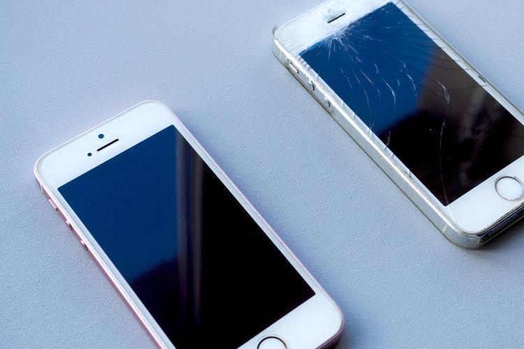 High angle view of mobile phone
