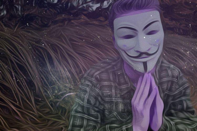 High angle view of purple mask