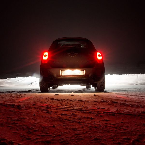 Cold Temperature Winter Snow Red Frozen Nature No People Outdoors Sky Beauty In Nature Illuminated Night Car Mini MiniCooper MinicooperS