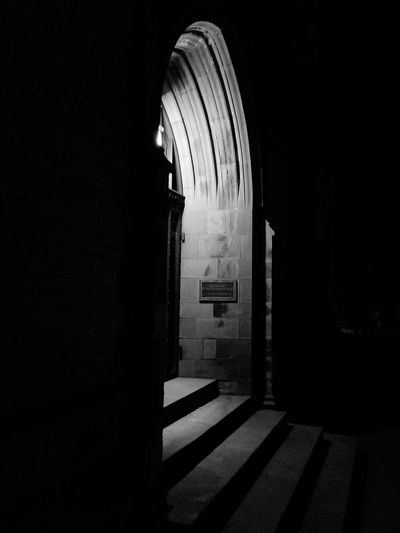 Arch No People Architecture Night Chapel Black & White Outdoors Dark Moody
