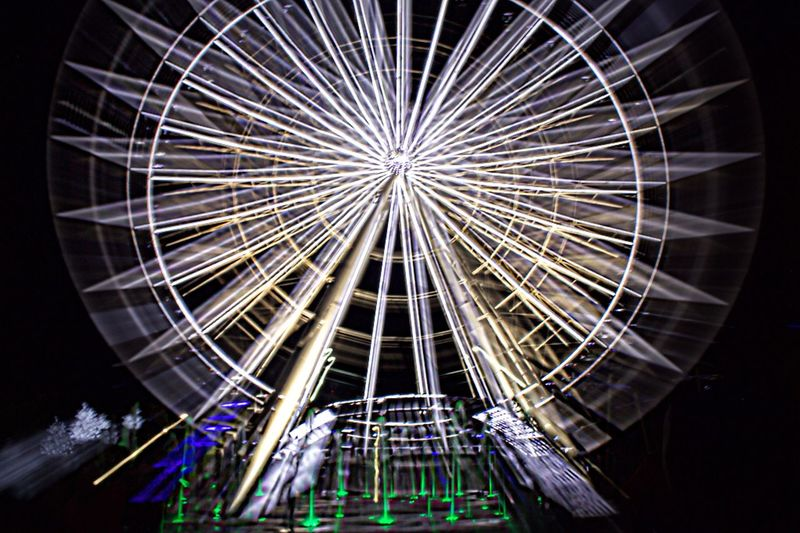 Night Illuminated Long Exposure Low Angle View No People Outdoors Arts Culture And Entertainment Ferris Wheel Architecture Sky