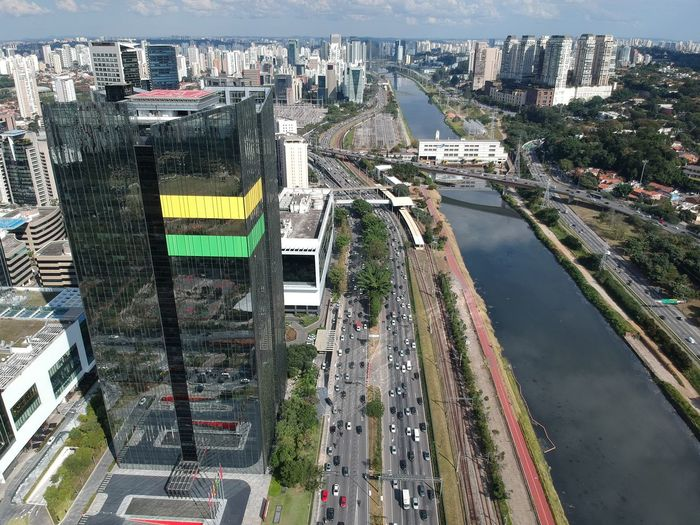 High angle view of road amidst buildings in city