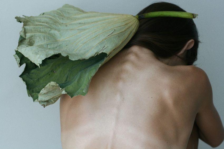 Young Women Studio Shot Rear View Close-up Human Back Topless