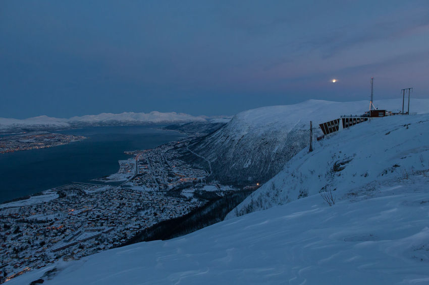 Arctic Beauty In Nature Blue Cable Car City Cold Fjord Frozen Landscape Mountain Norway Scenics Snow Snowcapped Mountain Station Tranquil Scene Troms Tromsø Winter