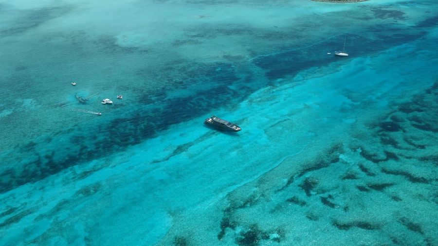 Norman's Cay Bahamas Aerial View Bahamas Seascape Underwater Clear Water Exuma Beauty In Nature Sea Islands Aerial Photography Scenics Outdoors Yacht Sea And Sky