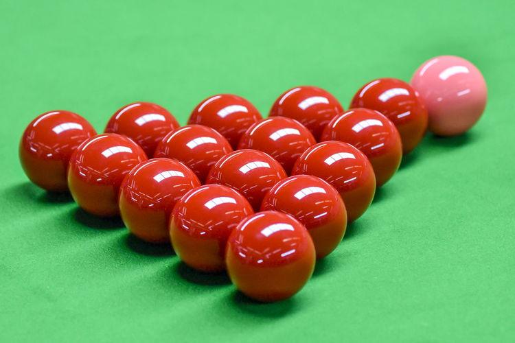 High angle view of various balls on table