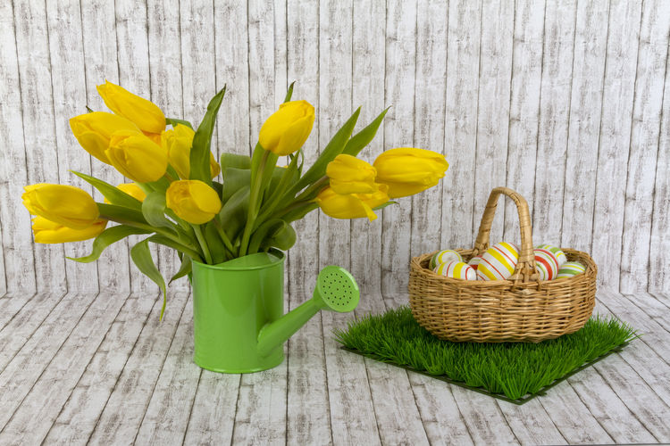 Easteregg Tulips Basket Beauty In Nature Close-up Day Flower Flower Head Fragility Freshness Green Color Indoors  Nature No People Petal Tulip Wood - Material Yellow
