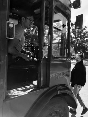 Driver and conductor of the red double bus California Doubledeckerbus Blackandwhite Photography Monochrome Transportation Public Transportation City Life Travel Bus