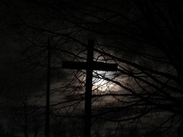 Kreuz in Westerwald Silhouette Kreuz  Cross Jesus Christ Darkness Nightphotography