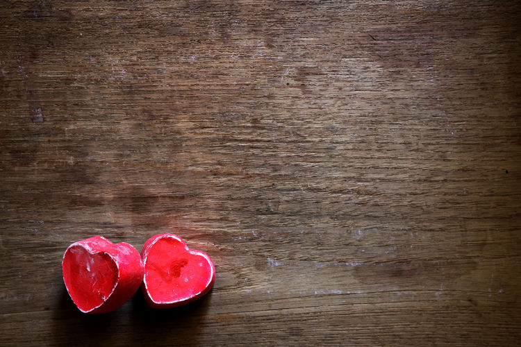 Red couple heart shape on blank wooden background - love symbol. vintage color tone Couple Love Romance Concept Decoration Heart Heart Shape Love No People Red Red Heart Symbol Table Valentine's Day - Holiday Vintage Wood - Material Wood Table
