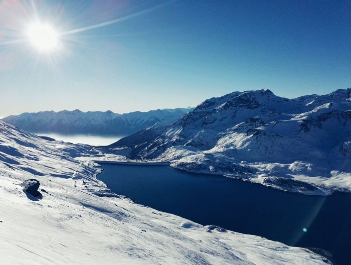 Blue Water Scenics Tranquil Scene Idyllic Beauty In Nature Sky Nature Tranquility Landscape Outdoors Non-urban Scene Lake Clear Sky Nautical Vessel Mountain Val Cenis Sunlight Skiing Ski Holiday Snow Mountains Alps