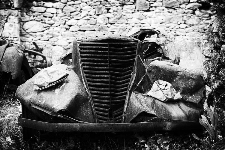 Vintage cars in Oradour sur plane, France. Blackandwhite Damaged Deterioration Old Oradour Sur Glane Outdoors Run-down Vintage Cars Wrecks Black And White Friday Hotel Art