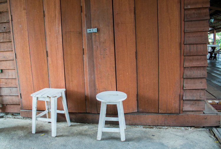 Chairs and table against brick wall