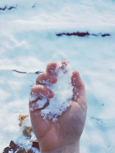 Close-up of woman hand holding ice against sky