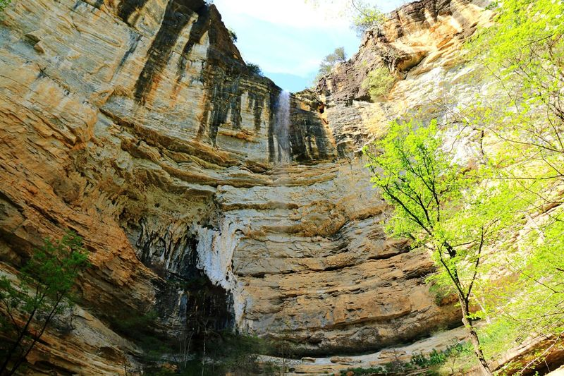 Hemmed in Hollow waterfall Arkansas Ozarks Hiking Waterfall Nature Day No People Tree Plant Beauty In Nature Mountain Sky Sunlight Outdoors Rock - Object Solid Rock Rock Formation Tranquility Scenics - Nature Geology Travel Travel Destinations