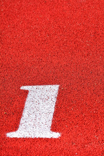 Close-up of number on sports track
