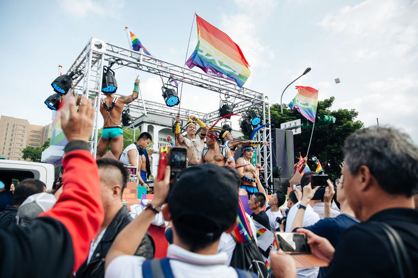 Taipei, Taiwan - Oct 28, 2017: Hundreds of thousands came out on streets of Taipei for the 15th Taiwan Pride Parade. The parade started marching from Ketagalan Boulevard to three different avenues and made Taipei even more colorful with all shades of rainbow. This year's goal is to promote inclusive education as it would lead to better acceptance. Taiwan is about to be the first in Asia to officially legalize 'equal marriage'. LGBT Rainbows LGBT Parade Taipei Pride Taiwanese Gay Parade   Gay Pride Parade Gaypride Lgbt Lgbt Flag Lgbt Pride Lovewins Pride2017 Prideparade Rainbow Flag Taiwan Pride Taiwanpride Taiwanpride2017 This Is Queer Focus On The Story Love Is Love