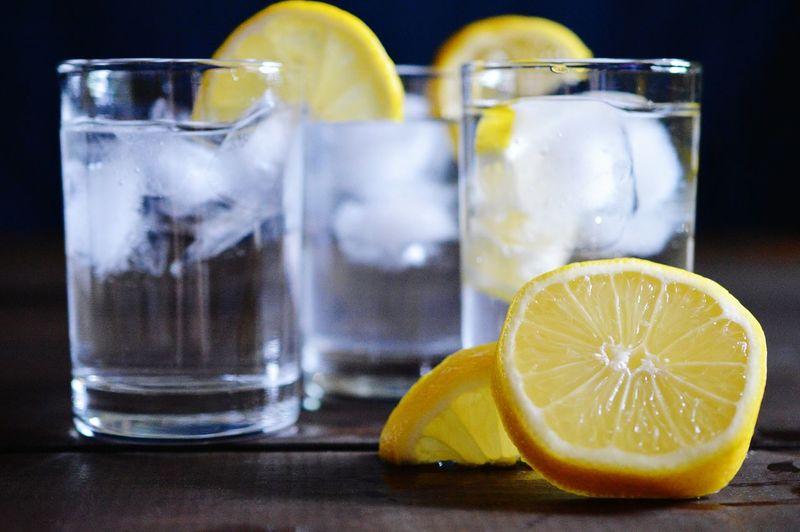 Close-up of fresh lemonade on table