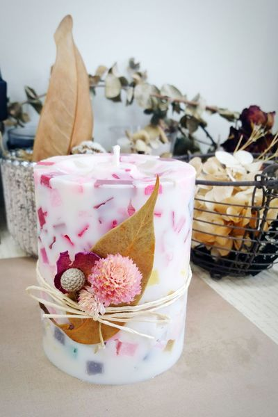 Celebration Table Indoors  Freshness No People Pink Color Candle Candle Light Handmade Craft Winter Christmas Decoration Christmas Ornament Christmas Xmas Gift Sweet Cake Cubic Flower Dried Flowers