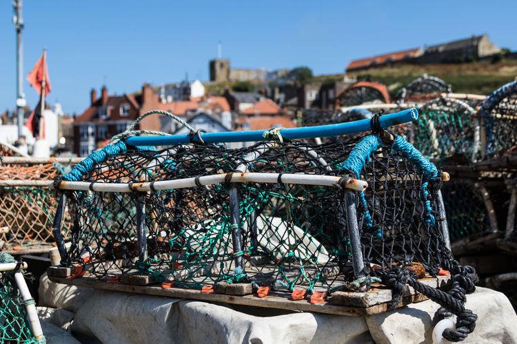 Lobster Traps Against Blue Sky