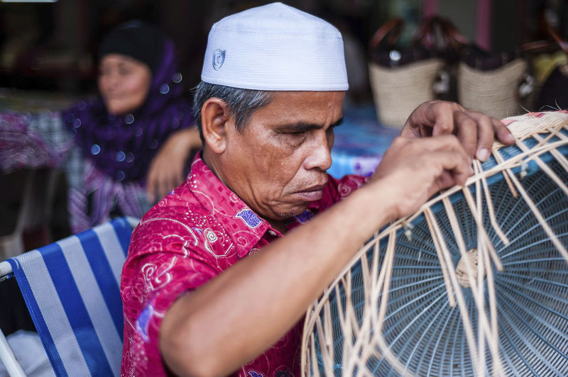 Basket Blind Handicraft Old Man People Street Life Street Photography Weaving