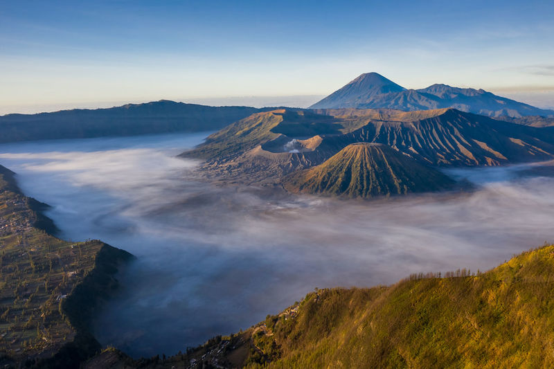 Panoramic view of volcanic landscape