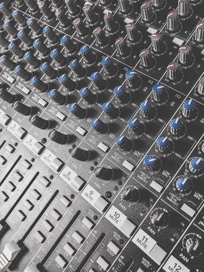 Analog Soundboard Frequency Equalizing Equalize Mixing Theater Playlist Track Music Click Button Slider Saturation Blue Desaturated Soundboard Button Analog Mixer Backgrounds Full Frame Music Sound Mixer No People Technology Recording Studio Indoors  Control Panel Arts Culture And Entertainment Close-up Day