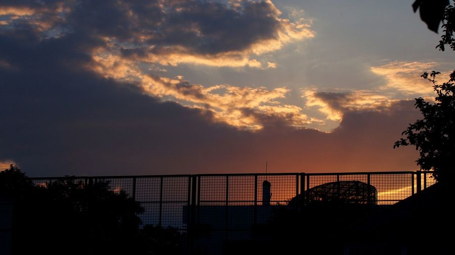 Sunset Beautiful Sky Clouds And Sky Clouds Cloud Tree Nature Mirrorless Silhouette Built Structure Fence Naturephotography Branches Streetphotography Amateurphotography Gradient