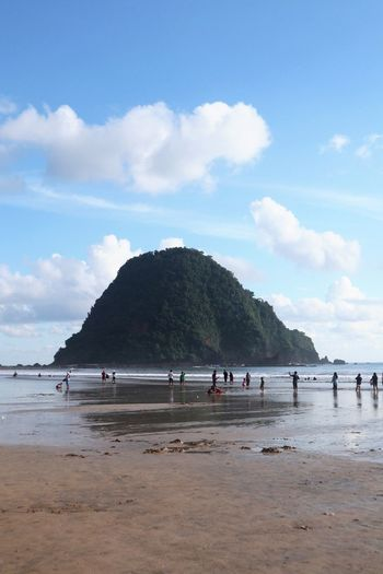 Pulau merah beach Banyuwangi Pulau Merah Red Island Beach Water Beach Sky Land Sea Cloud - Sky Sand Group Of People Day Nature Scenics - Nature Holiday Real People Vacations Beauty In Nature Trip Crowd Large Group Of People Tree Outdoors