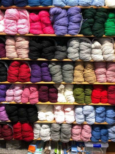 Multi colored wool for sale in store