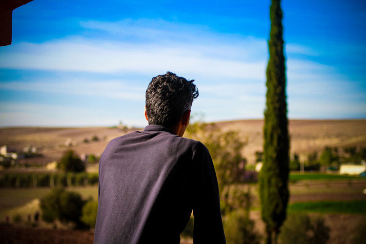 Rear View Of Man Looking At Landscape Against Sky On Sunny Day