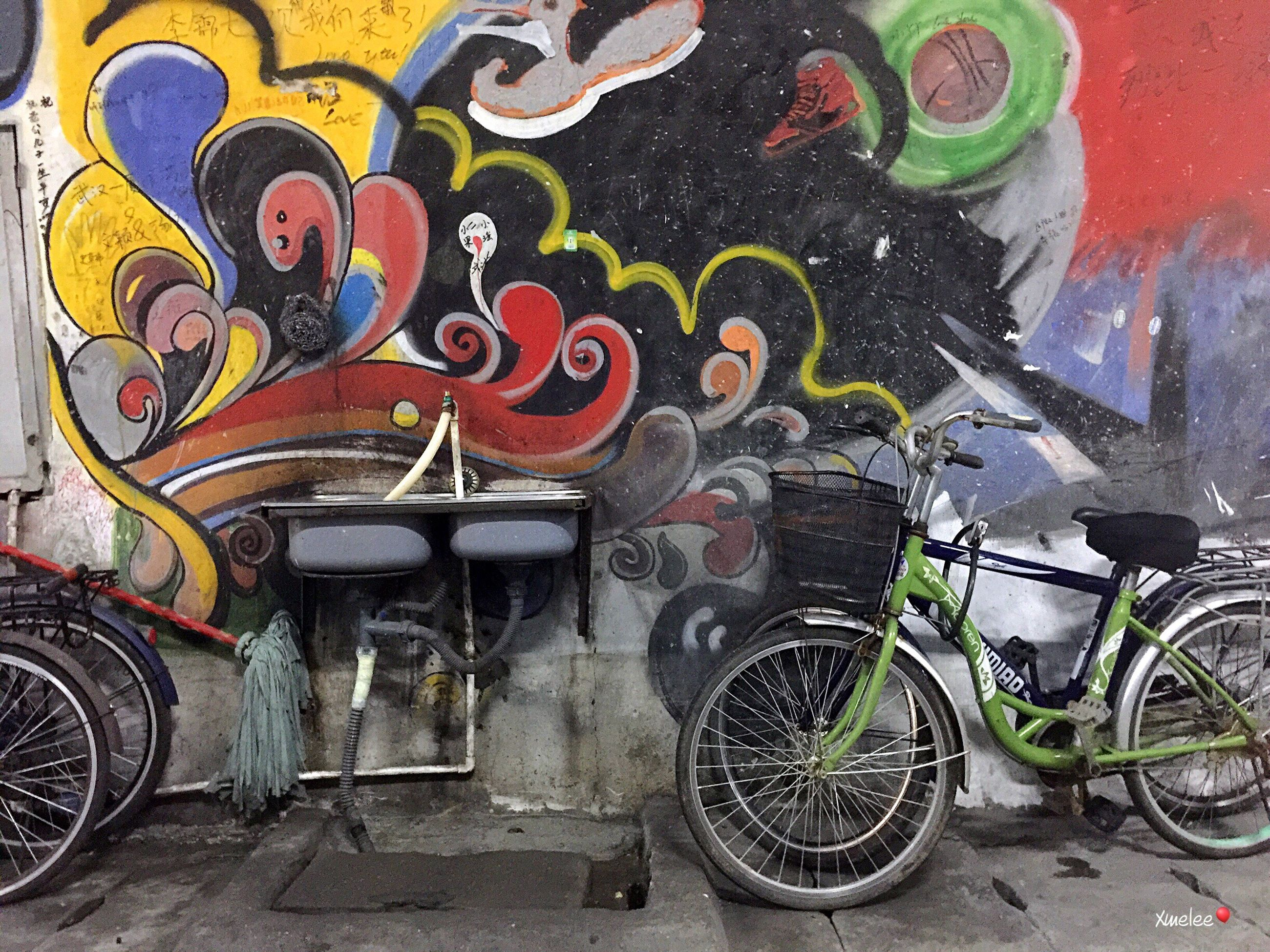 graffiti, transportation, mode of transport, day, multi colored, outdoors, no people, architecture, close-up