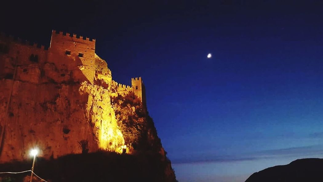 Caccamo Sicily, Italy Castel Night Moon Travel Destinations Sky Outdoors Illuminated Old Ruin Astronomy Architecture No People