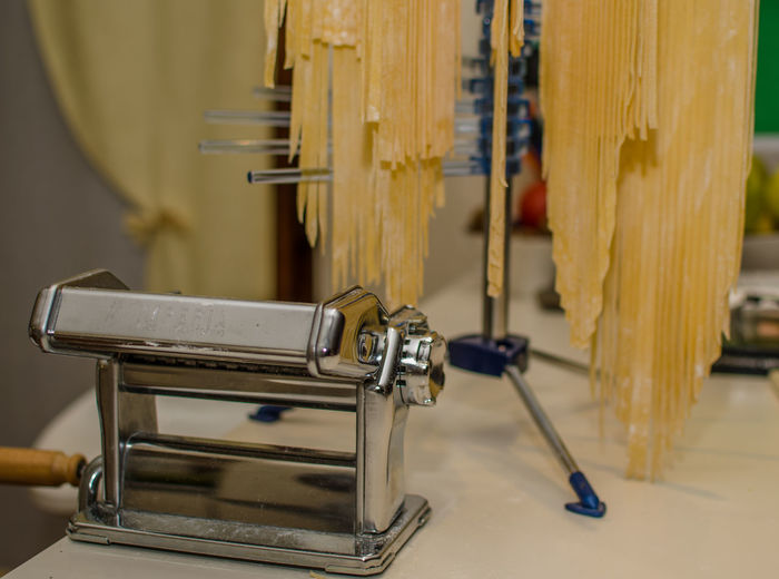 Close-up Equipment Food Homecooking Homemade Homemade Pasta Kitchen Kitchen Utensils Making Pasta Metal Old-fashioned Pasta Pasta Machine Pastaporn Preparing Food Retro Styled Table Tagliatelle