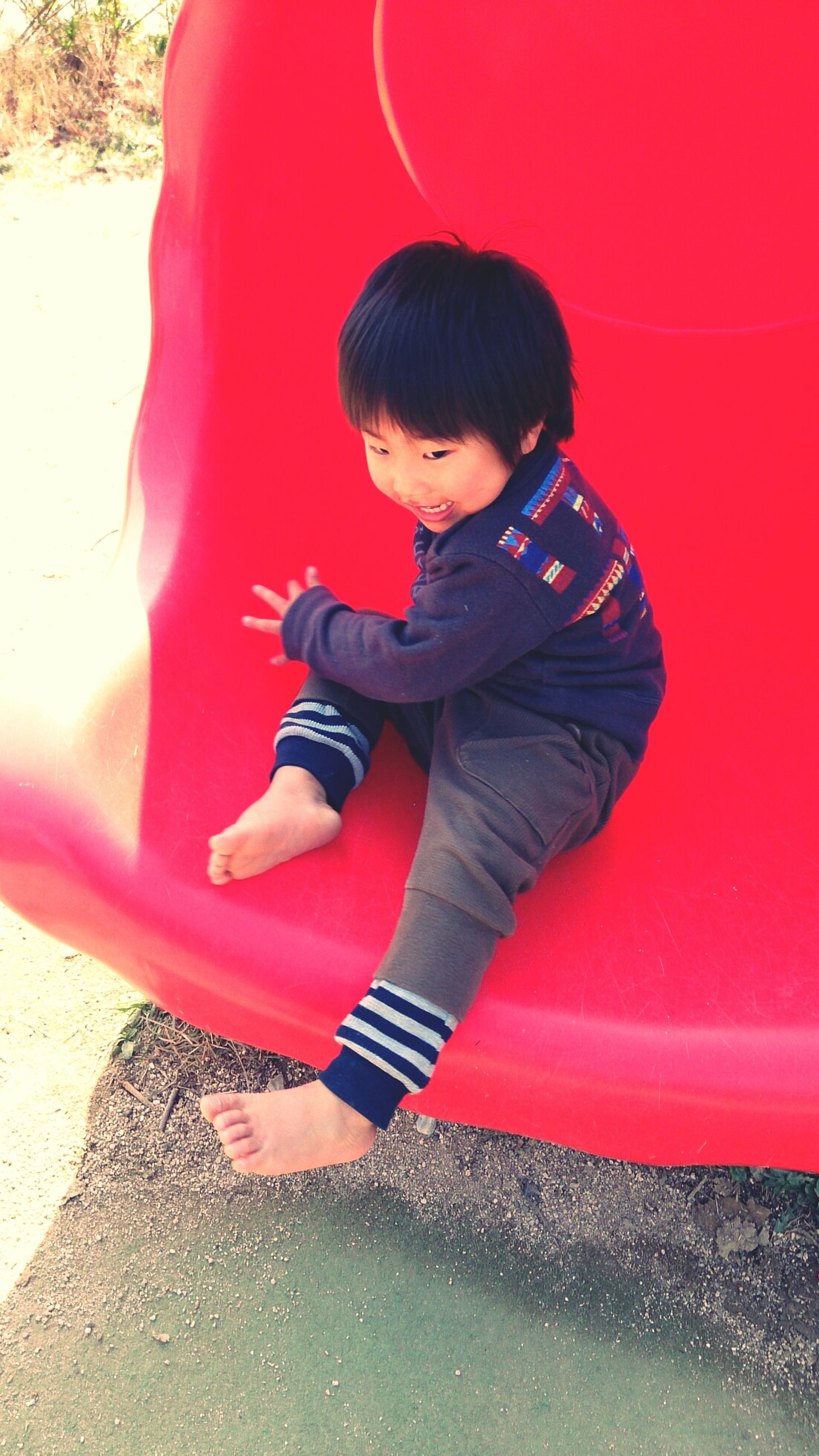 childhood, lifestyles, full length, leisure activity, elementary age, person, casual clothing, girls, boys, high angle view, innocence, red, playing, standing, fun, enjoyment, holding, cute