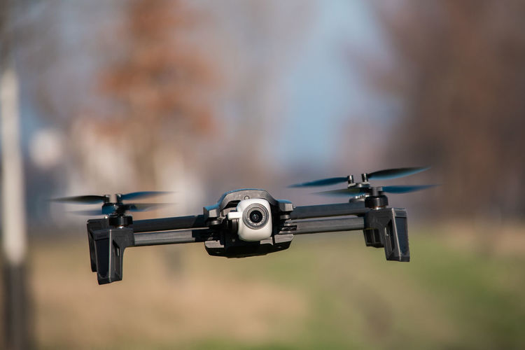 Focus On Foreground Technology Day Close-up No People Gun Weapon Selective Focus Camera - Photographic Equipment Photography Themes Outdoors Surveillance Flying Security Transportation Rifle Motion Military Air Vehicle Blue Drone  Parrot Anafi Dronephotography