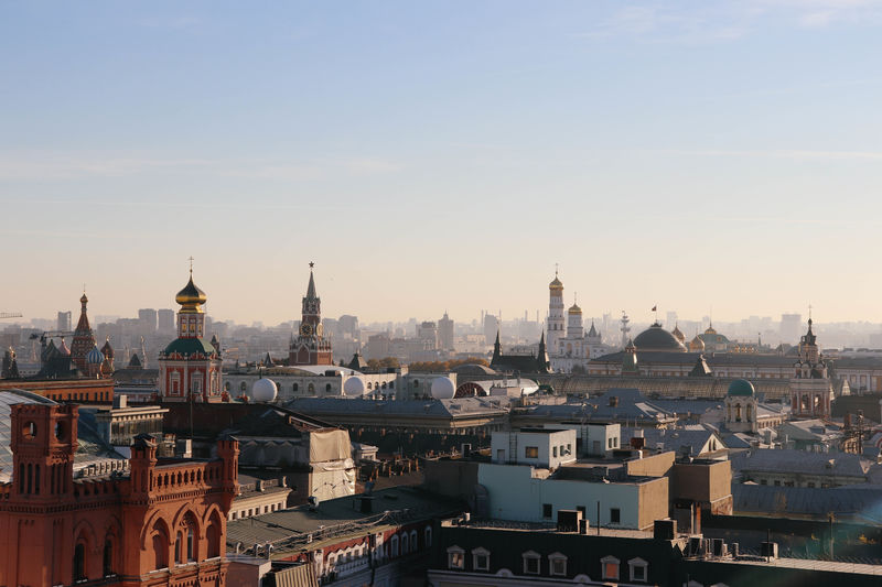 High angle view of buildings in moscow