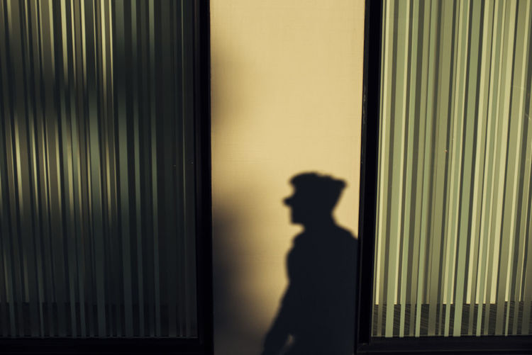 Silhouette of man looking at shadow