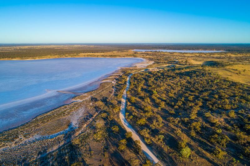 Salt lake in the desert at sunrise. victoria, australia.