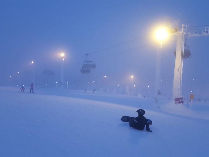 Lappland. Snowboarding. Fog Winter Lappland