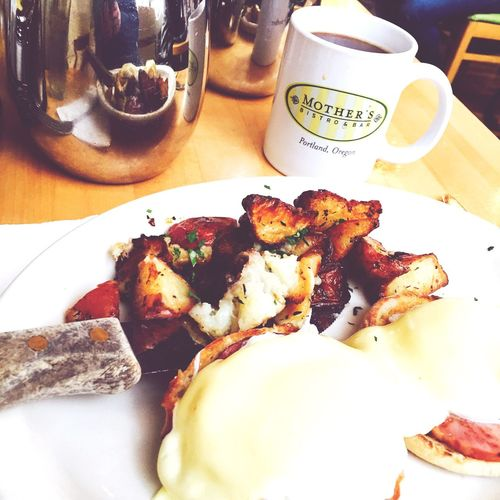 Food And Drink Food Plate Table Breakfast EGGBENEDICT Coffee CoffeePress Delicious Delicious ♡