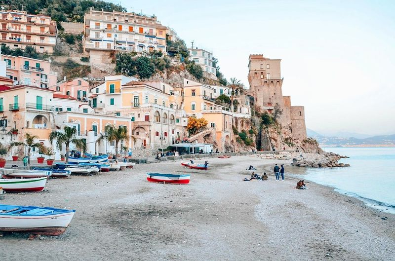 Cetara, small and picturesque fishing village on the Amalfi Coast, Italy. Village View Coastline Landscape Travel Destinations Travel Traveling Italy Amalfi Coast Amalfi  Cetara Beach Beachphotography Tree Water Sea Beach Sand City Summer Sky Architecture Building Exterior Coast Idyllic Tranquil Scene Remote Tranquility Seascape Shore Scenics Wave