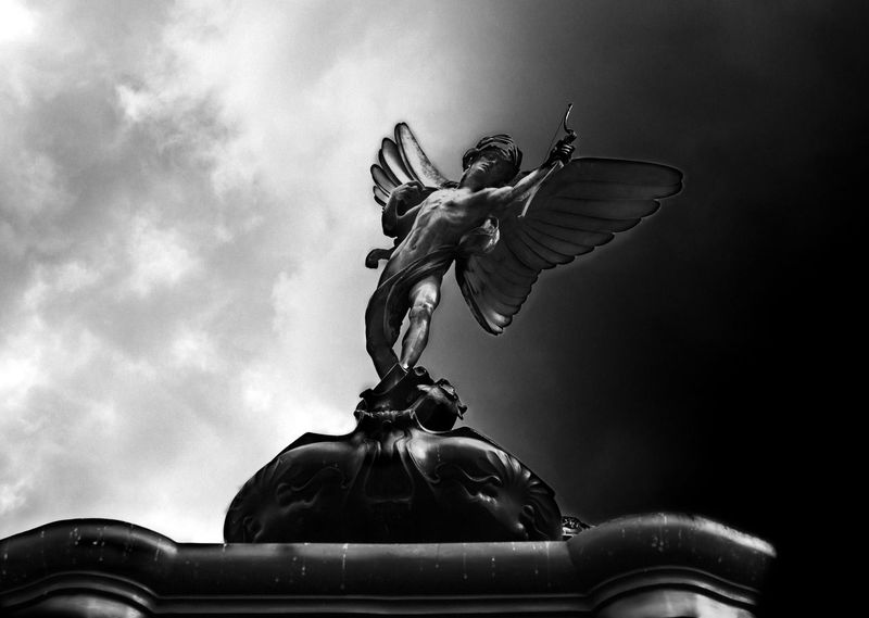 Statue Low Angle View Sculpture Sky Cloud - Sky Creativity Day Eros Blackandwhite Black And White Black & White Blackandwhite Photography Picadilly Circus Picadillycircus Picadilly