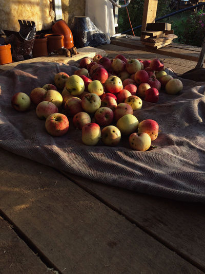 High angle view of apples on table at market