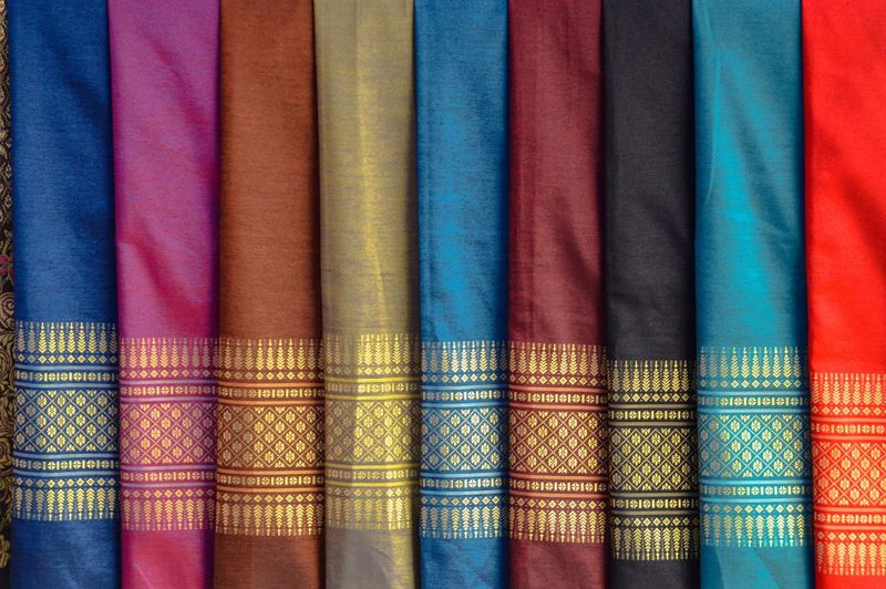 Full frame shot of multi colored laotian silks in store