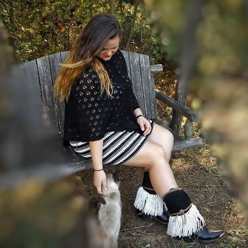 My Beautiful daughter modeling the latest crochet skirt/cowl and a pair of bootskirts. Oh and Sebastian had to be in the photo too. Both of these crochet items. are available. Bluejeansandroses Crochet Bootskirts Fringe Fashion Gypsy GypsySoul Boho Bohemian Western Fallfashion  Autumn Skirt Stripes Blackandwhite Siamesecat October